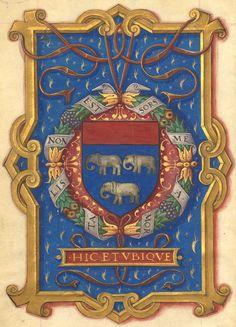 """Armoiries : """"d'azur, à trois éléphants d'argent, au chef cousu de gueules, avec les devises : Mortalis non est sors mea (et) Hic et ubique"""" (f°6) -- «Creations du Colleige des Notaires et Secrétaires du Roy et Maison de France, privilleiges, dons et octroys faictz par les roys de France à icelluy Colleige», 1501-1600 [BNF Ms Fr 14019 -- ark:/12148/btv1b53038304t]"""