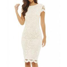 Biała koronkowa #sukienka ołówkowa midi z krótkim rękawkiem https://stylovesukienki.pl/