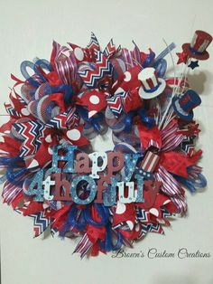 4th of July Wreath, Patriotic Wreath, Red, White and Blue, Americana Wreath, Ready to ship 4th of July Wreath