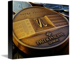 """Patek Philippe Geneve Commemorative Medal Coin $74 // Style: Black Edge Canvas Print; Size: Small 11"""" x 15"""" // Visit http://www.imagekind.com/Patek-Philippe-Geneve-PPG_art?IMID=f3908c20-ea81-4cad-96a2-bcfab5a6a254 for product details."""