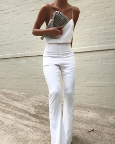 all white outfit inspiration white silk camisole with high waisted white pants minimal formal outfits Mode Outfits, Casual Outfits, Fashion Outfits, Formal Outfits, Fashion Clothes, Fashion Ideas, Clothes Women, Girly Outfits, Office Outfits