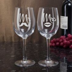 Celebrate any special day with these Permanently Etched Mr. Champagne Flutes, Wine Glasses or Old Fashioned Tumblers - Set of 2 Etched Wine Glasses, Wedding Wine Glasses, Wedding Flutes, Painted Wine Glasses, Bride And Groom Glasses, Bride And Groom Gifts, Bride Groom, Mr Mrs, Heart Glasses