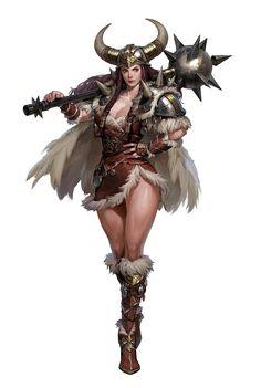 Female Human Big Morningstar Barbarian - Pathfinder PFRPG DND D&D 3.5 5E 5th ed d20 fantasy