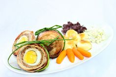 Roulade with egg, salads and Silesian Potato dumplings