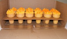 olympics cake | cones filled with cake, BC flames. To go with an Olympic rings cake ...