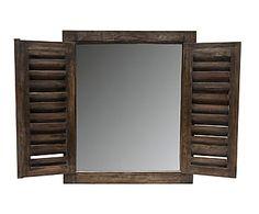 Espejo de pared en madera Window, marrón - 60x70 cm