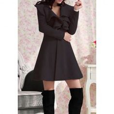 $19.92 Beam Waist Long Sections Worsted Solid Color Ruffles Trench Coat For Women