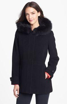 Sachi Genuine Fox Fur Trim Hooded Coat (Nordstrom Exclusive)   Nordstrom
