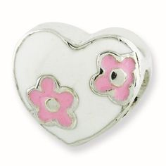 Sterling Silver Reflections Kids Enameled Heart With Pink Flowers Bead Charm, Girl's, Size: 7.27