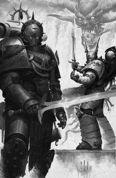 ArtStation - Siege of Terra illustration, Misha Savier Warhammer 40k Blood Angels, Warhammer 40k Art, Warhammer Models, Warhammer Fantasy, Robot Animal, Dark Eldar, Knight Art, Fantasy Armor, Fantasy Weapons