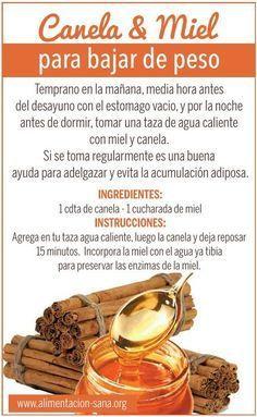 Remedio natural con miel y canela para perder de peso. #remedios #salud