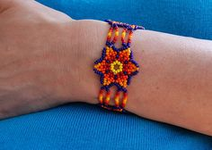 Mexican Beaded Jewelry bracelet blue orange flower