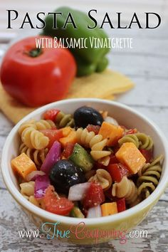 Pasta Salad with Balsamic Vinaigrette Recipe: sub vegan cheeses