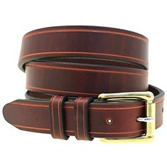 6093e02ce Men s 1 1 4 Chestnut Show Harness Leather Belt With Saddle Groove  Nickel-Free