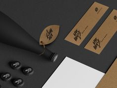 This water sure stands out, with it's black matte bottle. Yet it still has a natural feel through the use of cardboard and the leaf shape, decorated with beautiful #typography. #packaging
