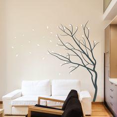 Wandtattoos Baum Wohnideen Wohnzimmer Weißes Sofa Beige Wand
