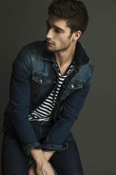 That's a nice denim jacket. Style for men: denim and stripes.