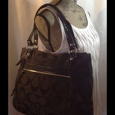 Coach Poppy Signature Metallic Glamour Tote! Coach Poppy Signature Metallic Glamour Tote!  This black tote with teal lining has been gently used. Exterior is in excellent condition. There are a couple tiny marks on the lining. Coach Bags