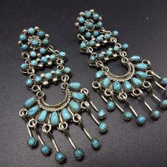 Vintage ZUNI Sterling Silver & TURQUOISE Petit Point Chandelier EARRINGS