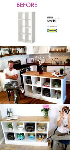 diy storage ideas for clothes 20 Smart and Gorgeous IKEA Hacks: save time and money with functional designs and beautiful transformations. Great ideas for every room such as IKEA hack bed, desk, dressers, kitchen islands, and more! - A Piece of Rainbow Hacks Ikea, Diy Hacks, Ikea Hack Desk, Ikea Kallax Desk, Ikea Hack Kids, Ikea Dresser, Diy Storage, Kitchen Storage, Kitchen Organization