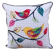 The cute country cottage pillow cover has twittering birds motif appliqued and embroidered on 100% cotton white poplin with cotton multicolour print fabric.The white base is printed with grey polka dots The back is white color to match the front and is welted with dark brown piping. The