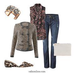 #cabi – Walk on the wild side in a leopard-on-leopard ensemble.