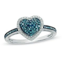 1/3 CT. T.W. Enhanced Blue and White Diamond Heart Ring in Sterling... ($237) ❤ liked on Polyvore featuring jewelry, rings, sterling silver jewelry, engagement rings, heart shaped diamond ring, enhancer ring and heart ring