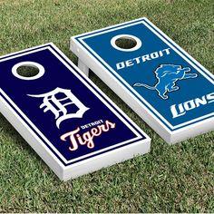 Detroit Tigers and Lions Custom cornhole boards