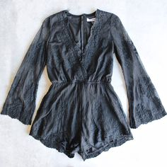 Reverse - road to nowhere gauzy lace romper with bell sleeves in black