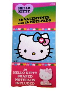 Hello Kitty 16 Valentines with 16 Notepads -- Want additional info? Click on the image.