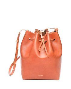 L0L15 Mansur Gavriel Medium Coated Leather Bucket Bag, Medium Brown