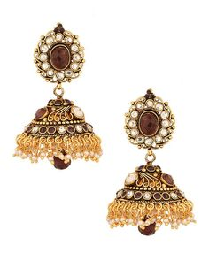 Jhumki Earrings Elaborately Designed with Amethyst, White Crystals