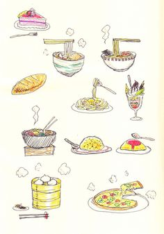 food sketches Cute Doodles Drawings, Fruit Doodle, Food Doodles, Pinterest Instagram, Food Sketch, Watercolor Food, Doodle Art Journals, Doodle Coloring, Pencil And Paper
