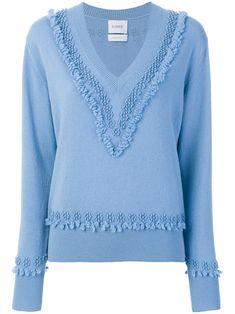Barrie textured trim V-neck sweater