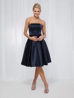 A-ligne sans bretelles robes demoiselle honneur en satin - Robes de Mariage Boutique
