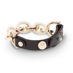 """8"""" Traci Lynn Fashion Jewelry Leather N Link Bracelet Gold Tone Fashion New…"""