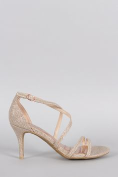 Bamboo Glitter Strappy Crisscross Single Sole Heel- #FreeShipping On Qualifying Orders
