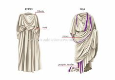 Peplos on the left Toga on the right  The toga, a distinctive garment of Ancient Rome, was a cloth of perhaps 20 ft (6 m) in length which was wrapped around the body and was generally worn over a tunic.  (http://en.wikipedia.org/wiki/Toga)