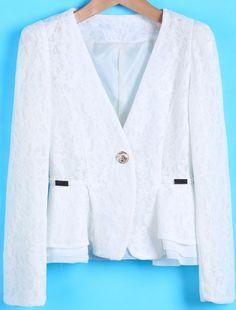 White V Neck Long Sleeve Ruffle Lace Blazer - Sheinside.com