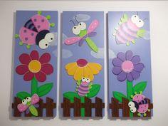 Arte Country Crisgar: Decora y organiza tu espacio Foam Crafts, Diy And Crafts, Crafts For Kids, Arts And Crafts, Baby Room Paintings, Baby Painting, Arte Country, Wooden Cutouts, Baby Art