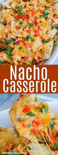 It& the perfect party food and one that will please a crowd. This Easy Nacho Casserole is layered with tortilla chips, season ground beef, and lots of cheese. Mexican Food Recipes, Snack Recipes, Dinner Recipes, Cooking Recipes, Dip Recipes, Party Recipes, Mexican Dishes, Appetizer Recipes, Dinner Ideas