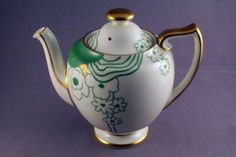Doulton deco: Glamis tea pot in Fairy shape, V1312, c1930s. Stunning green and gold abstract floral design with gold gilt highlights and trim. Rare!