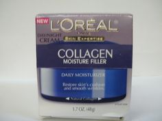 L'Oreal Paris Collagen Moisture Filler Day/Night Cream: Collagen is the essential natural protein that keeps skin smooth and looking youthful. But as we age collagen deteriorates plus skin starts to lose its moisture: Skin surfaces become uneven, skin loses its cushion and wrinkles are formed. Natural collagen is extracted and purified with a process that preserves all of its hydrating qualities.