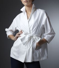 Soft Egyptian cotton barathea over-blouse. Deep side pockets, bracelet sleeve, self-covered snaps, soft elastic anorak effect hem. Self facing, French seams. Self belt through side key-holes to cinch waist. White Cotton Barathea - Dry Clean Only Classic White Shirt, Crisp White Shirt, White Shirts, White Blazers, Casual Tops For Women, Blouses For Women, Scott White, Moda Chic, White Women