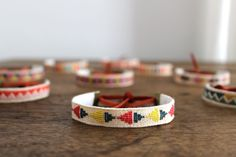 embroidered linen bracelet from New House Project (via That's Happy)