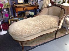 Vintage Antique Chaise Lounge French Style Ornate Wood Carved