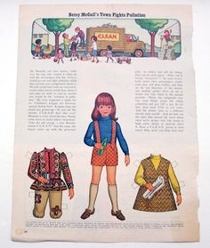 Vintage Betsy McCall paper dolls September 1971 BETSY'S TOWN FIGHTS POLLUTION   eBay