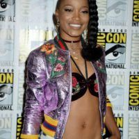 <p>Keke Palmerhit up the'Scream Queens' Comic-Con Press Line in San Diego while wearing a $4,200 Gucci Floral Appliqué Textured Metallic Leather Bomber Jacket: Herboldtopper is crafted from metallic lilac leather that's crumpled for texture and ornamented with intricately embroidered floral appliqués. This Italian-made piece is finished with the house's signature 'web stripe' trims in sporty…</p>