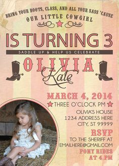 COWGIRL PARTY INVITATION photo by SLDESIGNTEAM on Etsy, $18.00