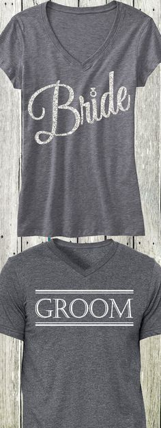 BRIDE & GROOM matching shirts. Perfect for the #Honeymoon and #Wedding Events. Only $44.95 for the set, click here to buy http://mrsbridalshop.com/collections/couples/products/bride-silver-glitter-script-gray-shirt-groom-gray-shirt